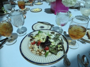 Cobb salad with vinaigrette dressing was served for the luncheon after the Literacy on the Lawn.