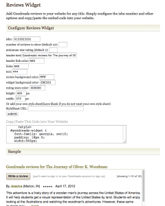 Configure the GoodReads Review widget as you like, the copy/paste the code into your site. Click to see this full size.