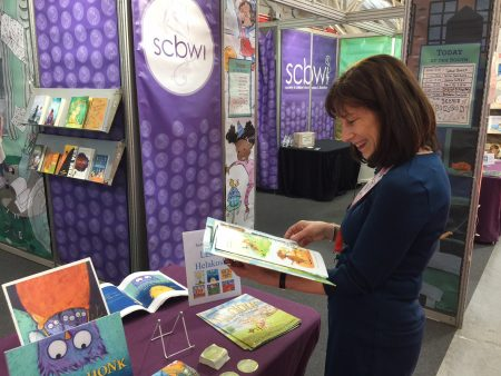 Jeanne B. de Sante Marie browsing at the 2018 Bologna Children's Book Fair.