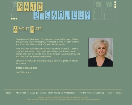 ABOUT page for Kate Di Camillo.