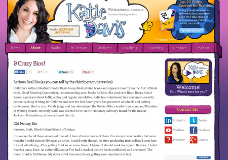 ABOUT page for Katie Davis. She includes 9 different bios--lots of fun!