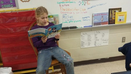Kailin was so excited to receive a new book, I Want a Dog, that she had to read it to the class. | DarcyPattison.com