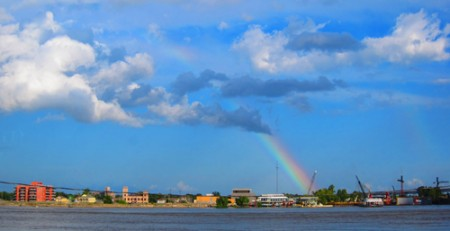 Rainbow over Mississippi River, photo by Dwight Pattison