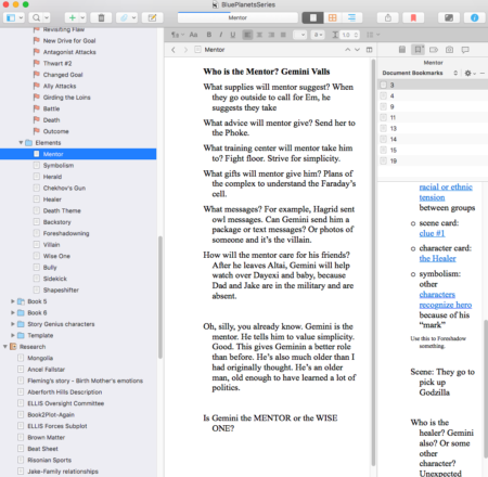 Scrivener Screenshot - Notice Project panel on the right. | DarcyPattison.com
